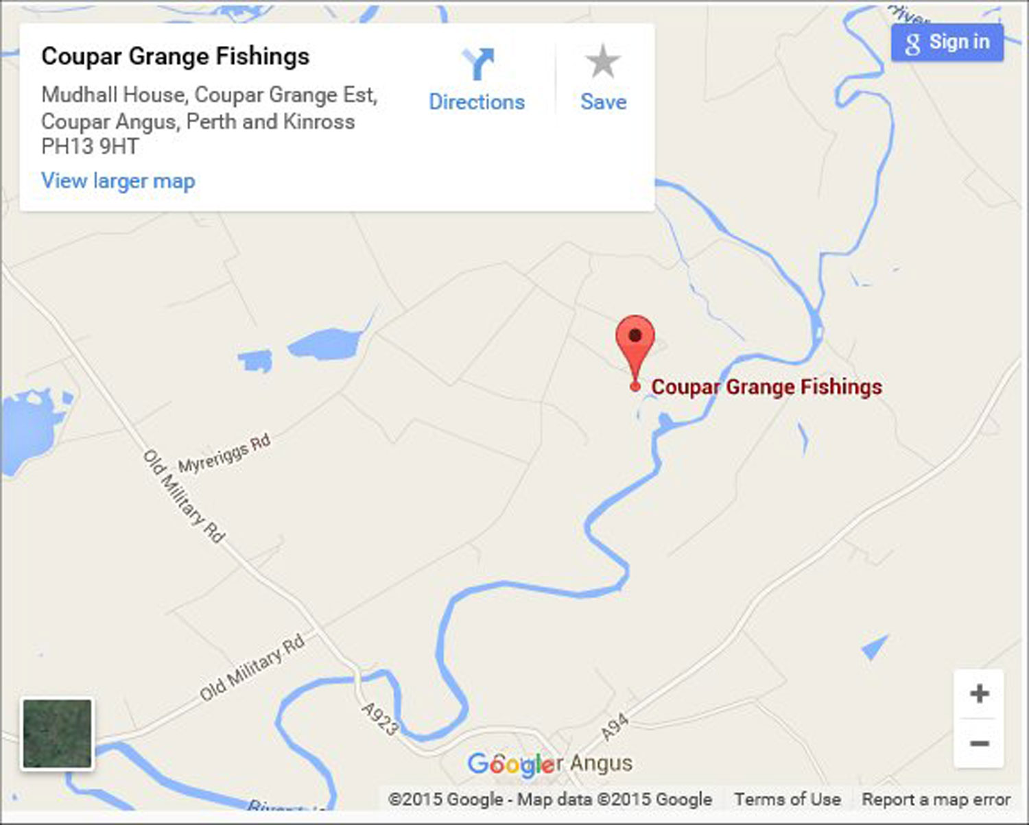 Coupar Grange Fishings - find us
